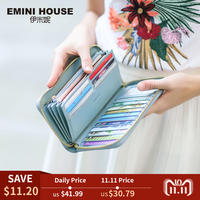 EMINI HOUSE RFID Large Capacity Women Wallet Genuine Leather Clutch Wallet Card Holder Organizer Ladies Purse Zipper Long Wallet