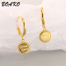 Small Gold Hoop Earrings For Women Geometric Round Disc Charm Earring 925 Sterling Silver Wedding Earrings Good Luck Ear Jewelry 925 sterling silver earring gold hoop earrings small hoop earrings hoop earrings for women silver hoop earring round earrings