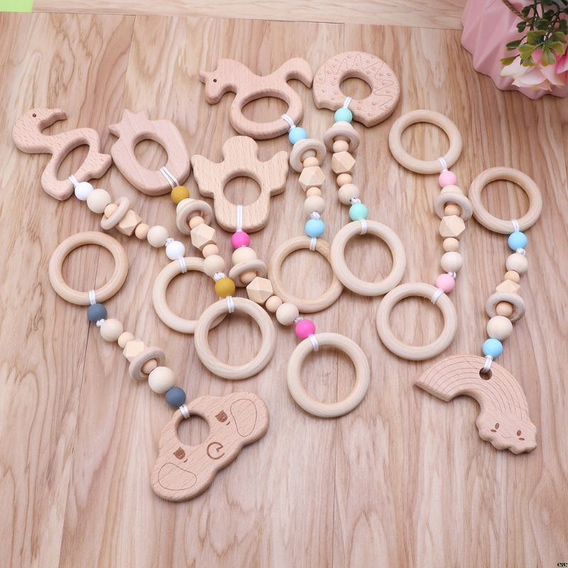 Baby Play Gym Nursing Cartoon Animal Wooden Teether Chew Beads Teething Wood Rattles Toys Teether Montessori | Happy Baby Mama