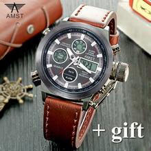 AMST Men Watches Top Brand Luxury 2016 New Fashion Sport Digital Men's Watch Military LED Quartz Leather Watch relogio masculino