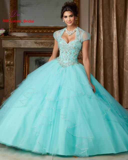 Ice Blue Ball Gown Quinceanera Dress For 15 Years With Jacket Tiered ...