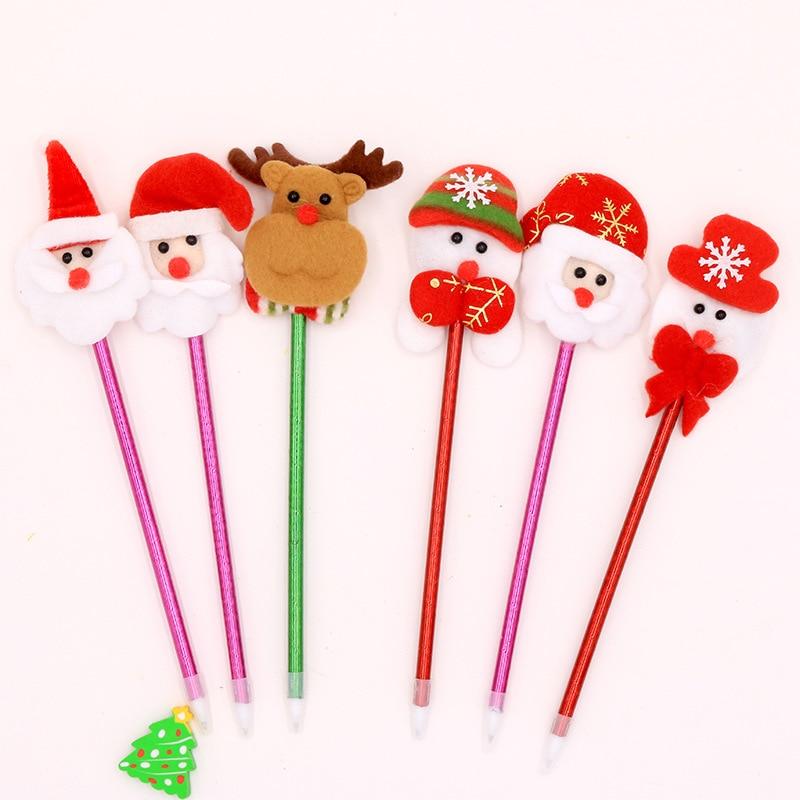 1 Pc Stuffed Santa Claus Lightless Snowman Ballpoint Pen Creative Kawaii Christmas Gift for Children Office School Cute Supplies plus size christmas santa claus snowman hoodie