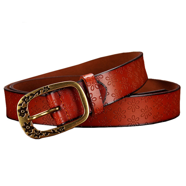 Fashion Vintage Genuine Leather Belt Woman Floral Buckle Second Layer Cow skin Strap for female jeans High Quality Belts Women