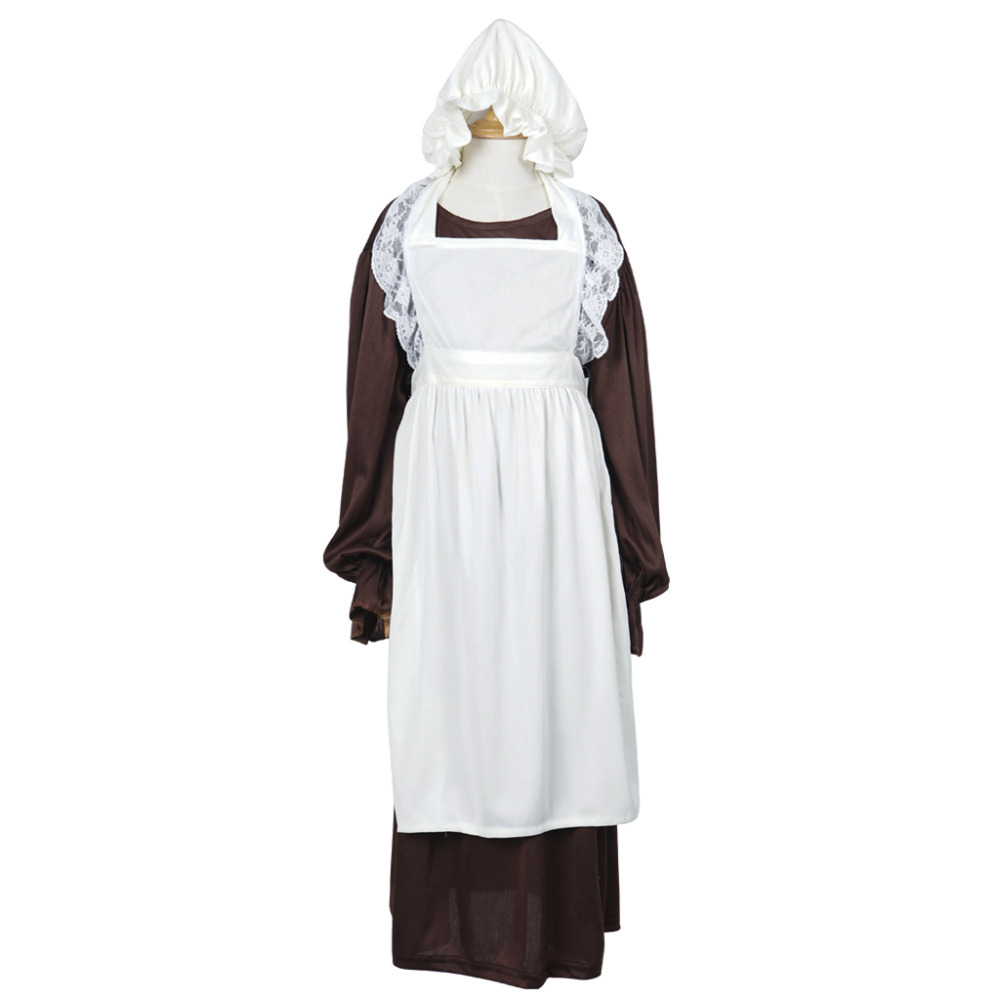 White apron for lab - Victorian Maid Cosplay Costume Girls Maid Dress Long Sleeve Dresses Skirt For Children With White Apron