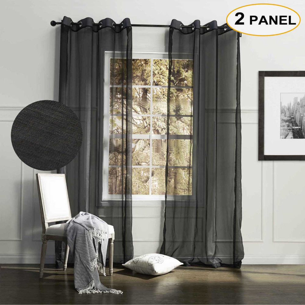 MOMO Black Solid Sheer Curtains Grommet Top Window Drapes