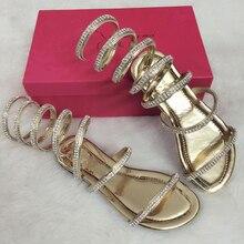 2017 Summer women sandals Crystal Sexy Women Gladiator Sandal Ladies Boots Snake Flat Women Shoes Roman shoes Plus size 3.5-15