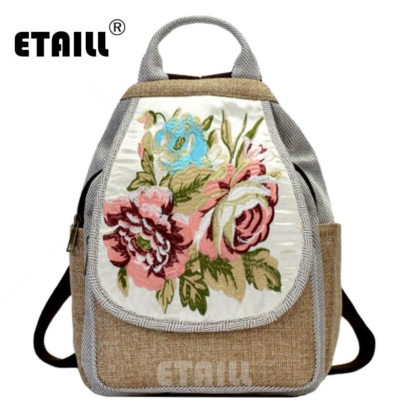 Etaill Ethnic Embroidered Floral Backpacks Women's Canvas National Tribal Travel Rucksack School Shoulder Bag Mochila Sac A Femm
