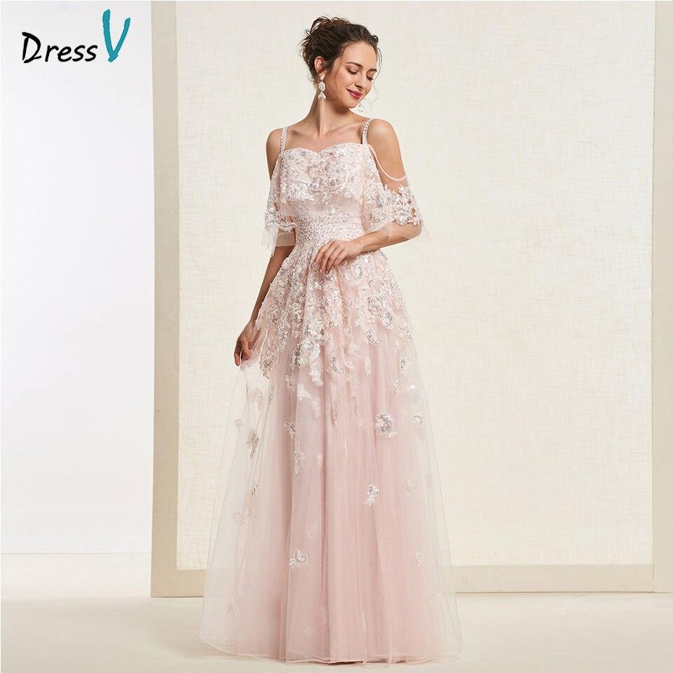 Dressv light peach long   prom     dress   straps simple a line appliques zipper up floor length evening party gown   prom     dresses