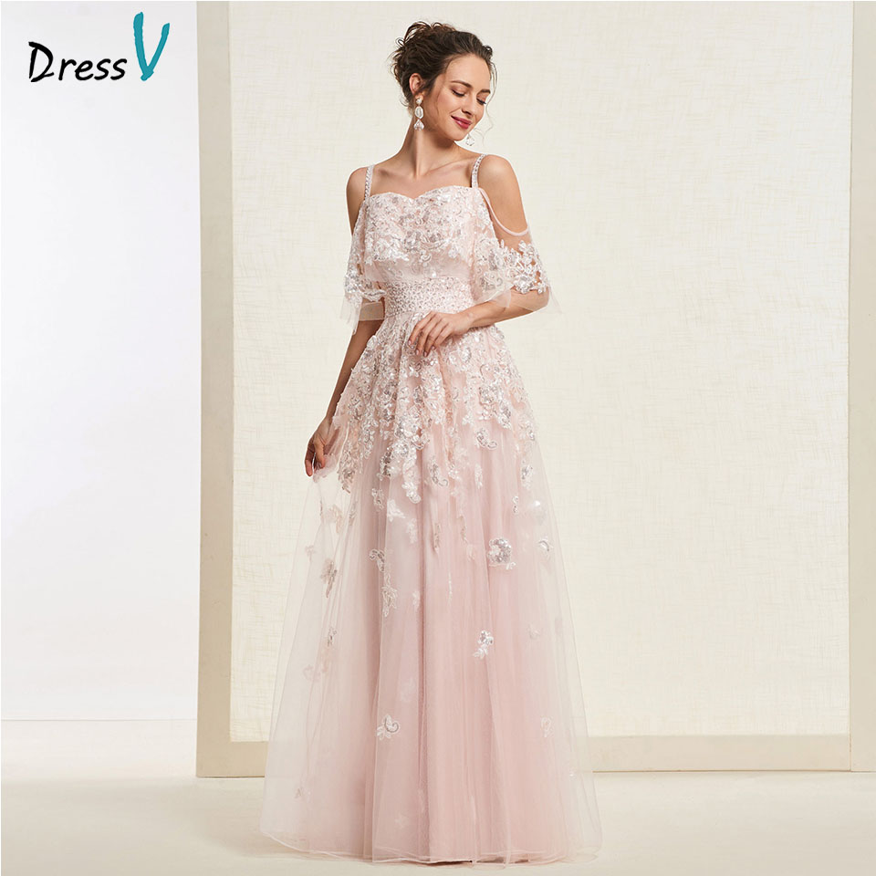Dressv Light Peach Long Prom Dress Straps Simple A Line Appliques Zipper Up Floor Length Evening Party Gown Prom Dresses