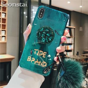 Moda de lujo 3D esmeralda brillante diamante extensión pulsera Fox piel bola teléfono funda para iPhone 6 S 7 8 Plus X XS X Max XR cubierta