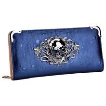Wholesale 5* ( Cool Retro Skull Wallet for Women Vintage Clutch Bag Blue