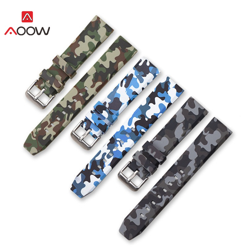 AOOW Silicone Watchband Sports Camo Printed Rubber Waterproof Replacement Bracelet Band Strap Watch Accessories 20mm 22mm 24mm