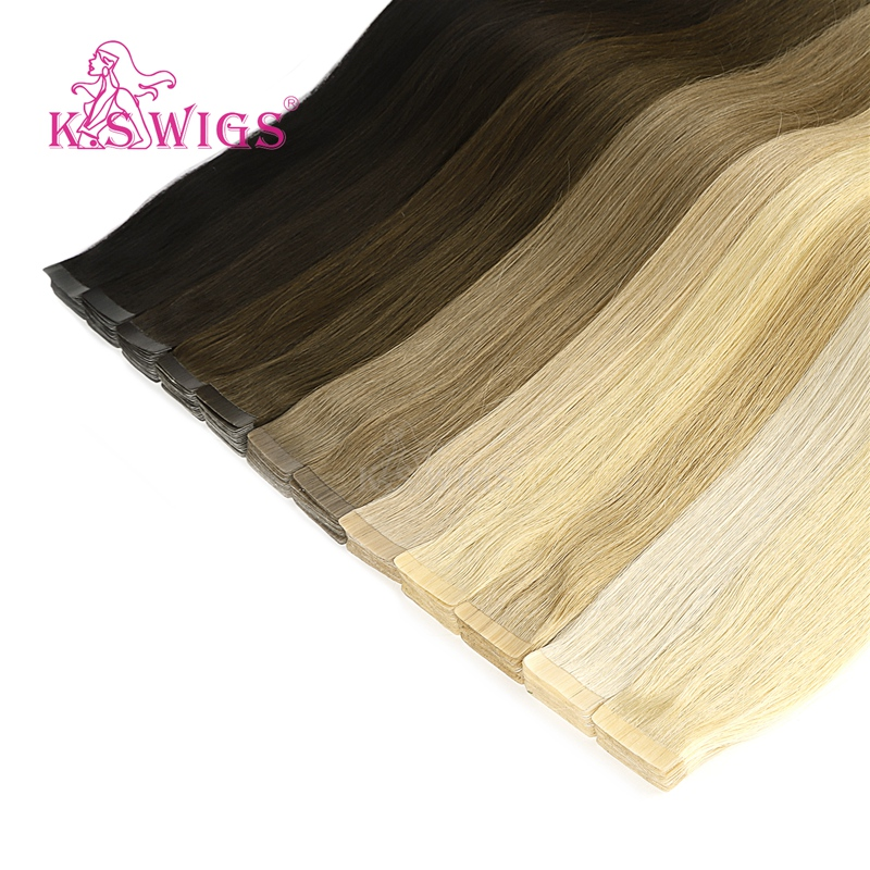 K.S WIGS Double Drawn Human Hair Straight Luxury Tape In Human Hair Extensions 20'' 50g