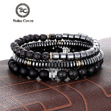 Luxury 3/4 pcs 1 Set Vintage Matte Hematite Beads Bracelets Men Cool Geometry Stone Charm Bracelet homme Pulseira Dropshipping(China)