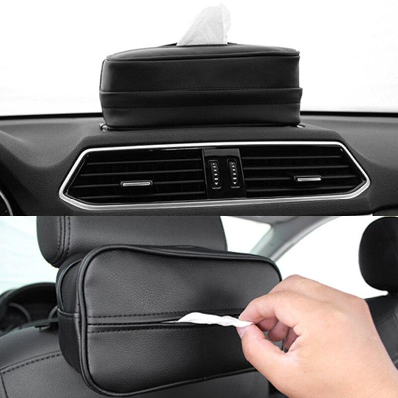 Автомобиль Ёмкости для салфеток искусственной кожи Полотенца коробка Бумага кассеты автомобиля Защита от солнца козырек из искусственной ...