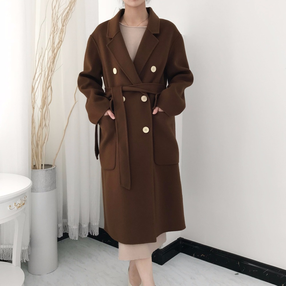 Wool Blends Coats Women Winter High Quality Hand Made Woolen Manteau Overcoat Warm Oversized Long Cape Jacket Abrigo Mujer PJ210
