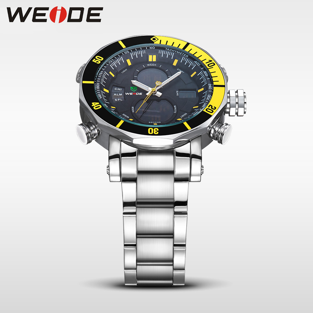 WEIDE Mens Watches Top Brand Luxury Analog Digital LCD Quartz Military Army 30M Waterproof Blue Dial Wrist Watch with Gift Box in Quartz Watches from Watches