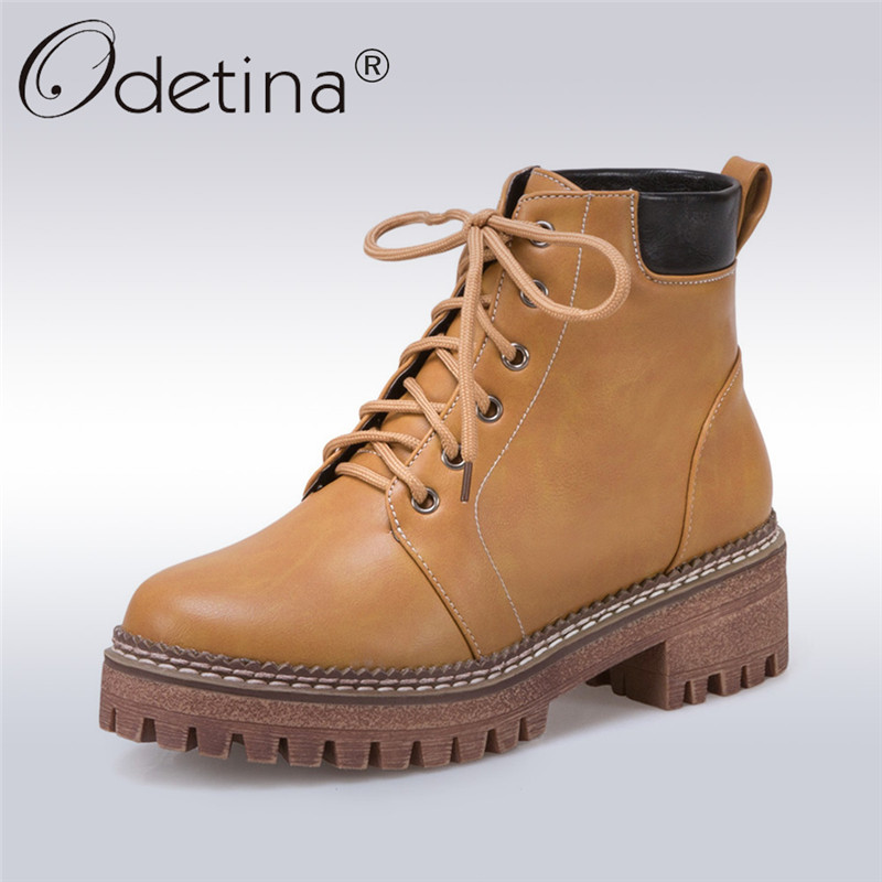 Odetina 2017 New Fashion Women Thick Heel Platform Lace Up Riding Ankle Boots Chunky Heel Booties Warm Winter Shoes Big Size 46 plus size platform high heels boots lace up chunky heel ankle boots for women new fashion booties martin shoes woman black
