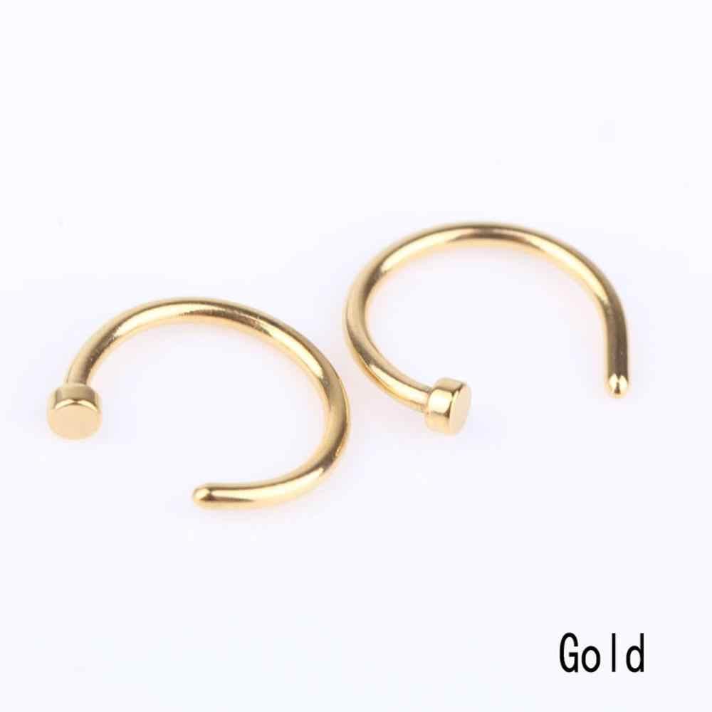 Nowy gorący 1 para moda styl medyczne Hoop pierścienie nosowe nakładane na nos pierścień ciało fałszywy Piercing Piercing biżuteria dla kobiet