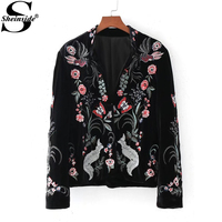 Sheinside Boho Floral Embroidery Fox Velvet Blazer Black Stand Collar Fitted Jacket Blazer Women 2017 Casual