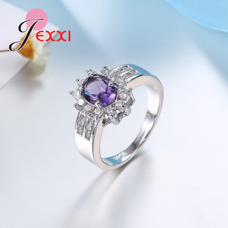 JEXXI 2018 Royal AAA Cubic Zircon Ring Delicate Jewelry 925 Sterling Silver Women & Man Engagement Promise Rings
