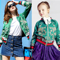 W.L.MONSOON Girls Jackets Women Clothes 2016 Brand Family Matching Clothes Kids Jacket Flower Embroidered Mother Daughter Coats