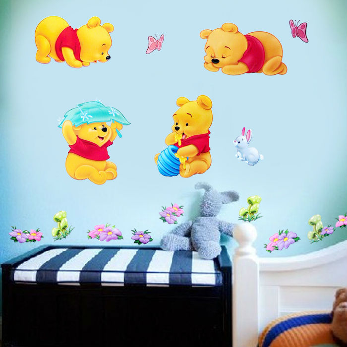Baby Winnie The Pooh Wall stickers Decal Kids Decor Home Mural Art