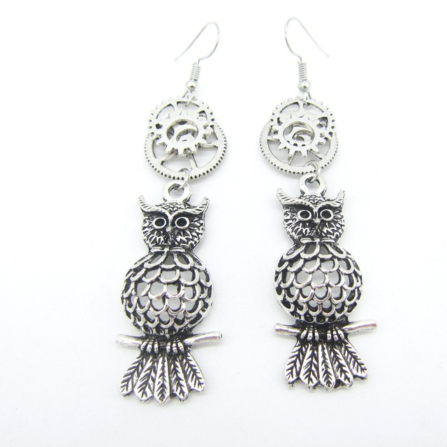 2018 Cykopv New Collectin Antique Silver Olw Charms With Multi Gears Vintage Steampunk Earring Accessory