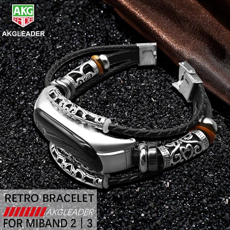 AKGLEADER For Xiaomi Mi Band 3 Retro Watch Band Genuine Leather With Jewelry Wrist Strap For Xiaomi Mi3 Bracelet horloges bandje