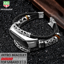 AKGLEADER For Xiaomi Mi Band 3 Retro Watch Genuine Leather With Jewelry Wrist Strap Mi2 Bracelet horloges bandje