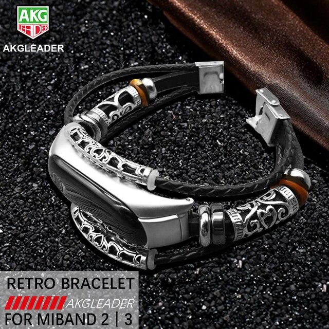 AKGLEADER For Xiaomi Mi Band 3 Retro Watch Band Genuine Leather With Jewelry Wri