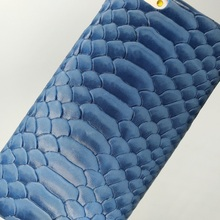 Solque Real Genuine Leather Thin Case for iPhone 6 6S Plus Cell Phone Luxury Python Skin Snake Ultra Slim Hard Back Cover BLUE
