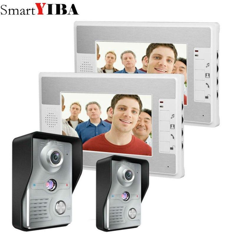 SmartYIBA 7 Inch Wired Video Door Phone Intercom 2V2 Video Doorphone Video Doorbell In Access Control System