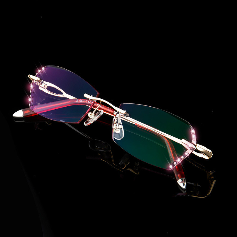 Randlose Hohe Brille Leser Rosa Frauen Diamant Lesebrille Presbyopie Klar Luxus Brillen Strass gnwUWqYUOI
