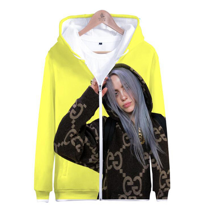 Moletom Billie Eilish 3D Printed Zip Up Harajuku Hoodies Sweatshirt Women Streetwear Hip Hop Zipper Hooded Jacket Coat Outwear