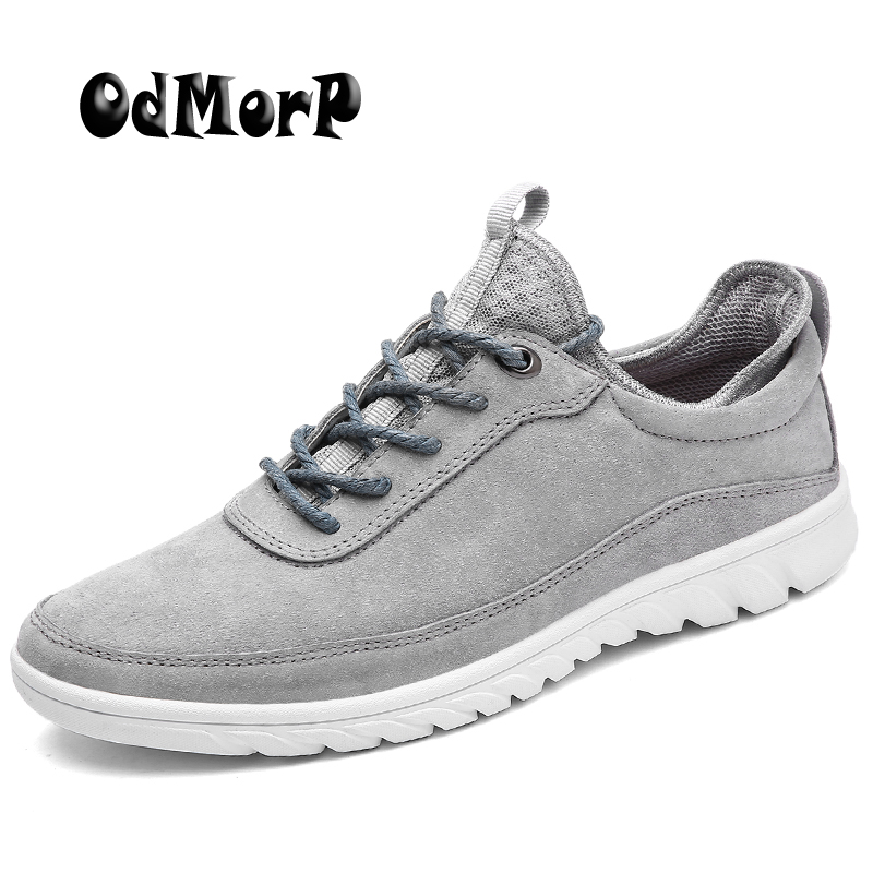 ODMORP Men Shoes Summer Leather Casual Shoes Light Suede Leather Shoes Men Sneakers Lace Up Fashion Sneakers Footwear Zapatos