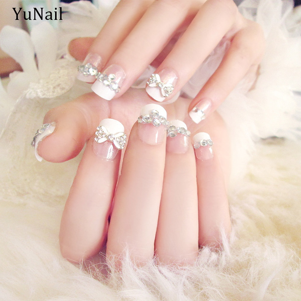 24pcsset wedding bride nail art design 3d flower decal glitter 24pcsset wedding bride nail art design 3d flower decal glitter artificial false full nail tips with glue in false nails from beauty health on prinsesfo Choice Image