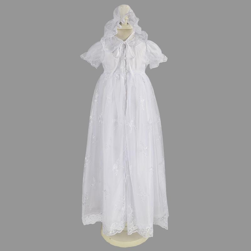 Nimble newborns clothes baby girl Dress Three Pieces White Lace Embroidered Baptismal Floor Length Christening Gowns