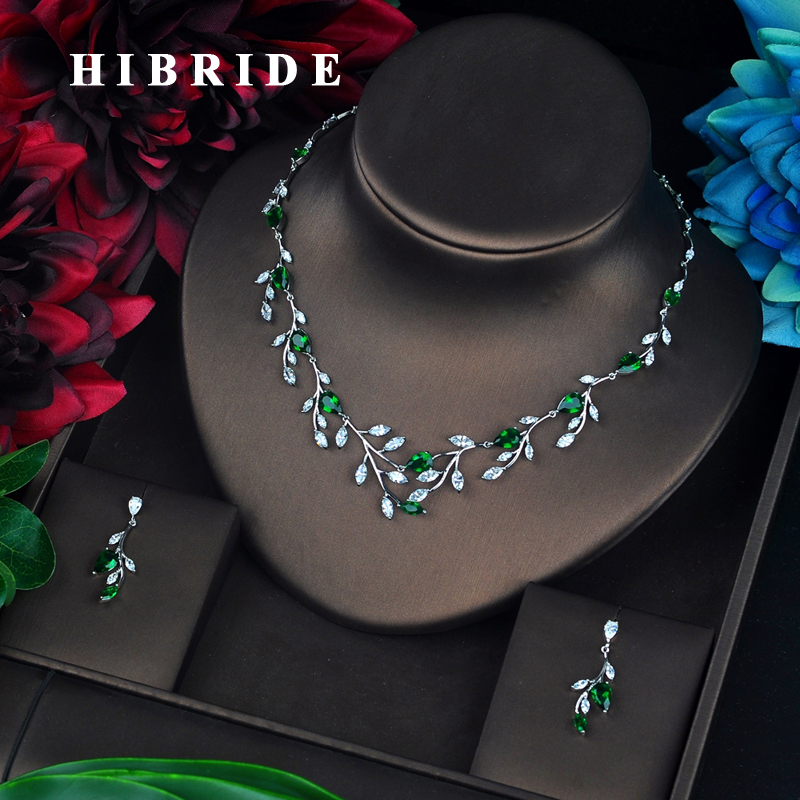 HIBRIDE luxe feuille forme vert CZ pierre bijoux ensemble pour femmes parure bijoux femme mariage fiançailles ensemble N-659