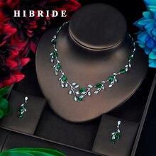 HIBRIDE Conjunto de joyería para mujer, forma de hoja, piedras de CZ verde, bisutería de compromiso, N 659