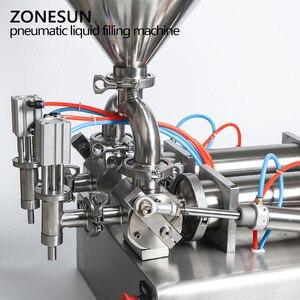 Image 5 - ZONESUN כפול ראשי מכונת מילוי אוטומטי פנאומטי הופר שמפו קרם לחות קרם קוסמטי שמן דבש