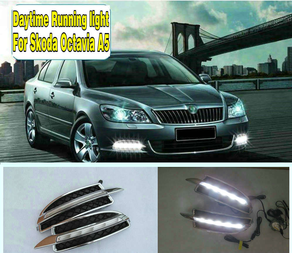 2PCs set Car styling Daylight Daytime Running light led drl For Skoda Octavia A5 2010 2011