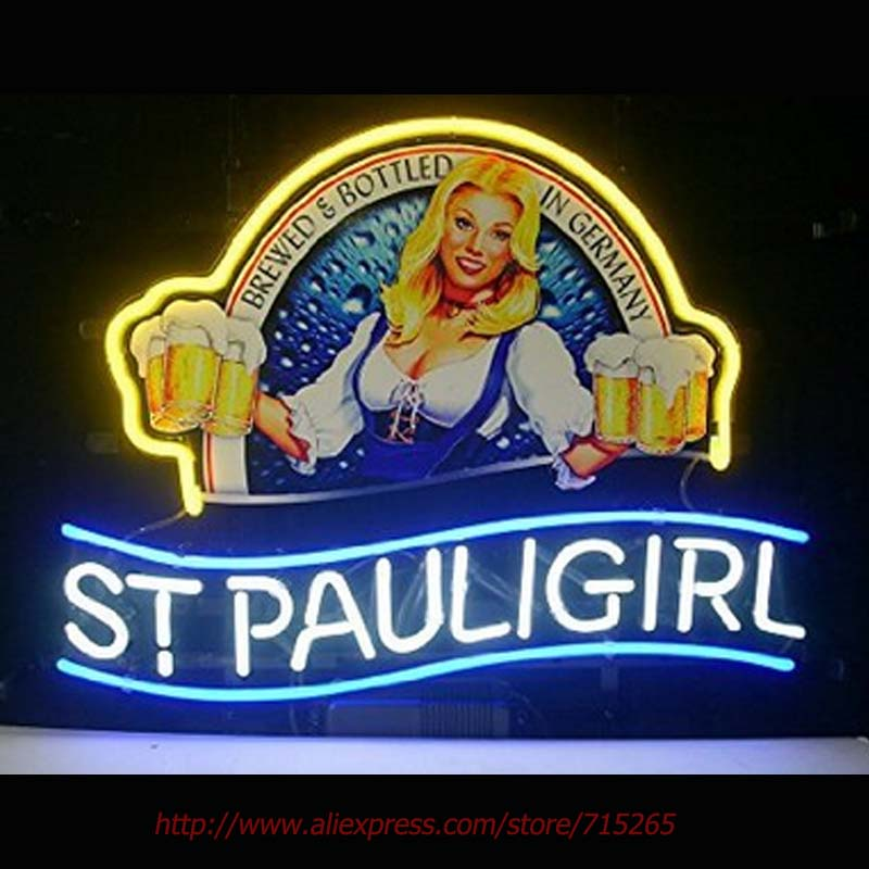 New St. Pauli Girl Neon Sign Neon Bulbs Led Signs Real Glass Tube Handcrafted Beer Pub Recreation Room Recreation 18x14 inch VD