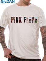 GILDAN Basic Models Gildan Short Sleeve Men Pink Floyd Logo Regular Crew Neck Tee Shirt