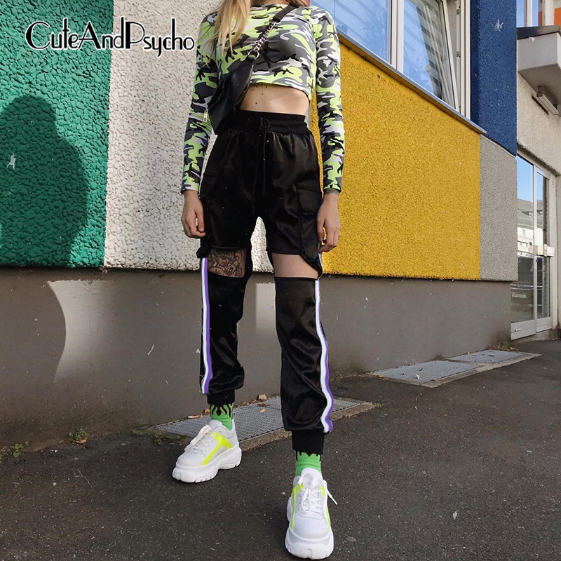 2019 Hollow Out High Waist Trousers Women Baggy Satin   Pants   Pocket Harajuku Ladies   Pants     Capris   Stripe Patchwork Cuteandpsycho