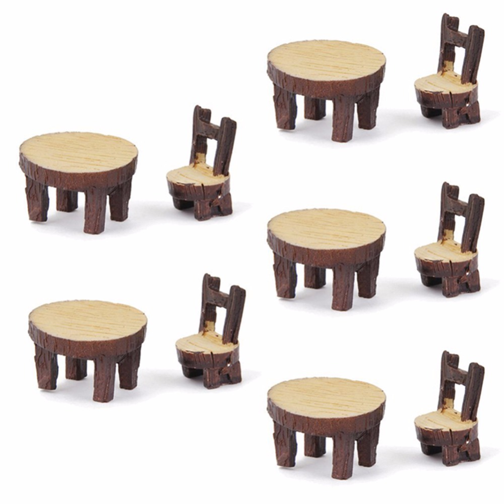 2pcs Mini Tables Chairs Furniture Figurine Crafts Landscape Plant Miniatures Decors Lovely Fairy Resin Garden Ornaments KT0795