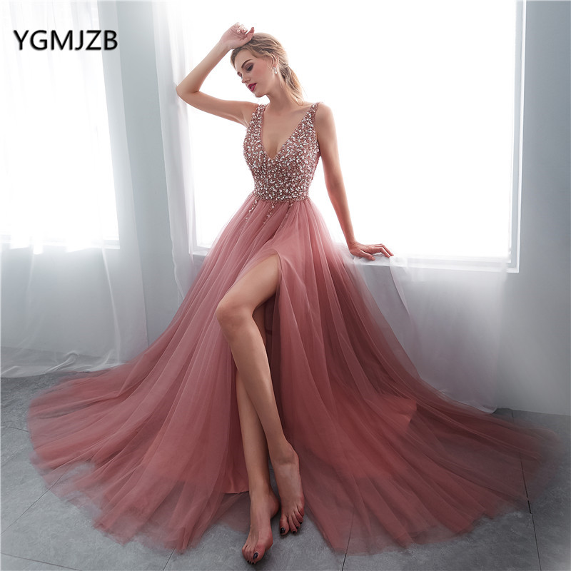 abendkleider 2018 Sexy Evening Dress Long A Line High Slit V Neck Beads Crystal Backless Formal Prom Evening Gown robe de soiree
