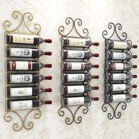 Wholesale 4 12 Bottles European Retro Iron Wall Mount Wine Holder Rack Creative Flat Hanging Red Wine Rack Shelf Support Cabinet
