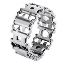 29 em 1 multi ferramenta de aço inoxidável pulseiras multi-função pulseira chave de fenda preta ao ar livre acampamento caminhadas ferramenta de emergência