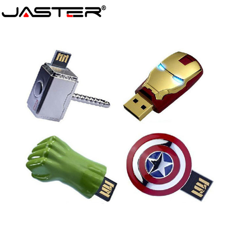 JASTER The Avengers Metal Captain American Hulk USB Flash Drive Iron Man Pendrive 64GB 32GB 16GB 4GB Flash Memory Stick Drives